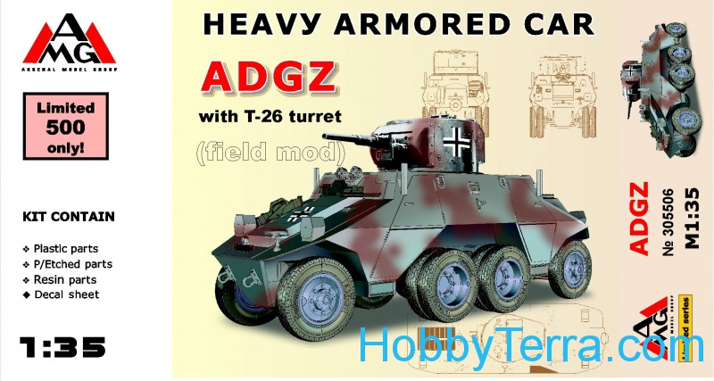 AMG Models  35506 Heavy armored car ADGZ with T-26 turret (field mod)