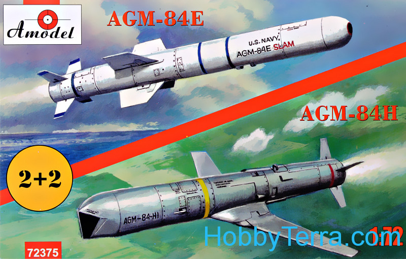Amodel  72375 AGM-84E and AGM-84H on trolleys