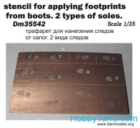 Photo-etched set 1/35 Stencil for applying footprints of boots. 2 types of soles