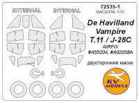Mask 1/72 for De Havilland Vampire T.11/J-28C (Double sided) + wheels masks, for Airfix kits
