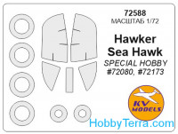 Mask 1/72 for Hawker Sea Hawk and wheels masks, for Special Hobby kit