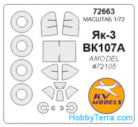 Mask 1/72 for Yak-3 (early / late) + wheels, for Amodel kit