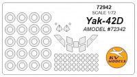 Mask 1/72 for Yak-42D + wheels masks, for Amodel kit