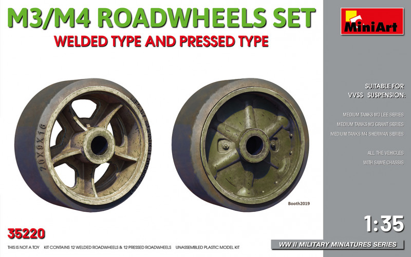Miniart  35220 Wheels Set for tank M3/M4. Welded type and pressed type