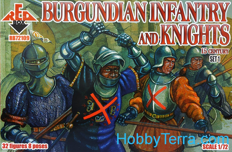 Red Box  72109 Burgundian infantry and knights, 15th century, set 1