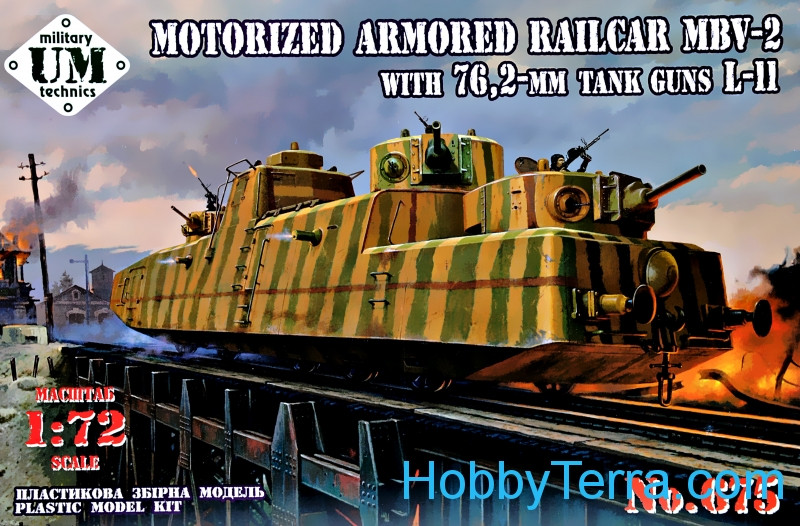 UMmt  675 MBV-2 motorized armored railcar with 76,2-mm tank guns L-11