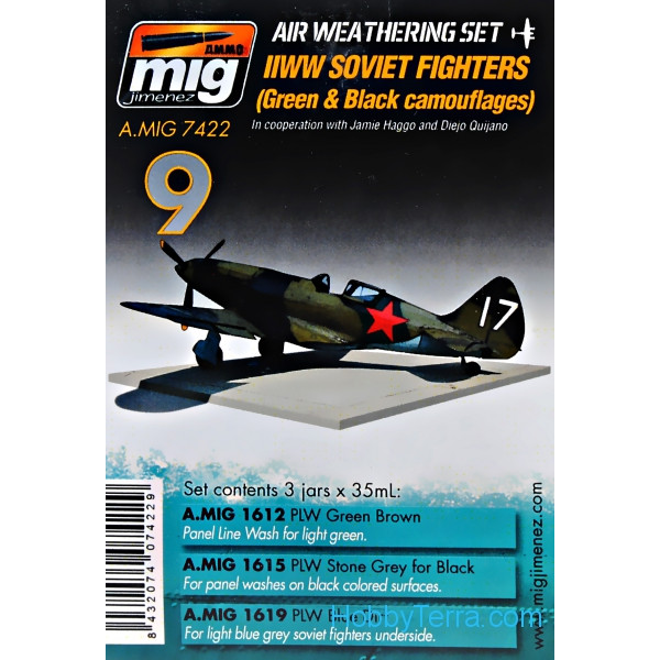 MIG (AMMO)  7422 Weathering Set. WW II Soviet airplanes (Green & Black camouflages)