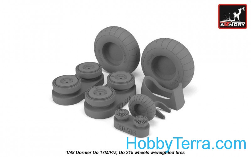 Armory  48205 Wheels set 1/48 Dornier Do 17M/P/Z, Do 215 w/weighted tires