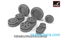 Wheels set 1/48 Mikoyan MiG-21 Fishbed w/weighted tires, mid