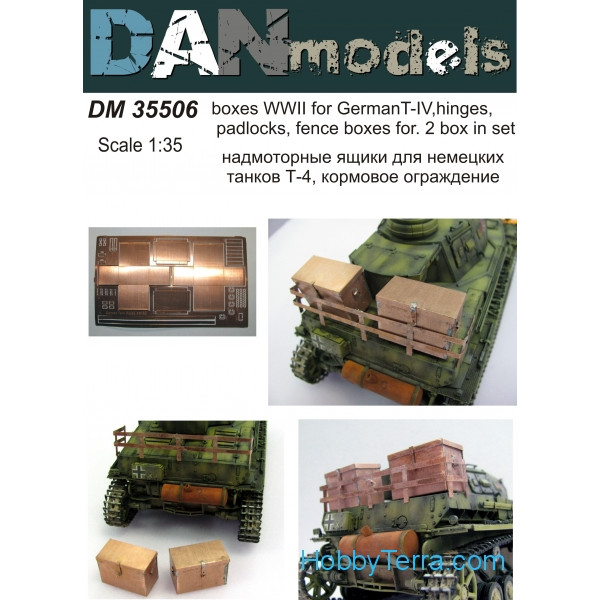 DAN models  35506 Boxes for WWII German T-IV, hinges, padlocks, fence boxes. 2 box in set