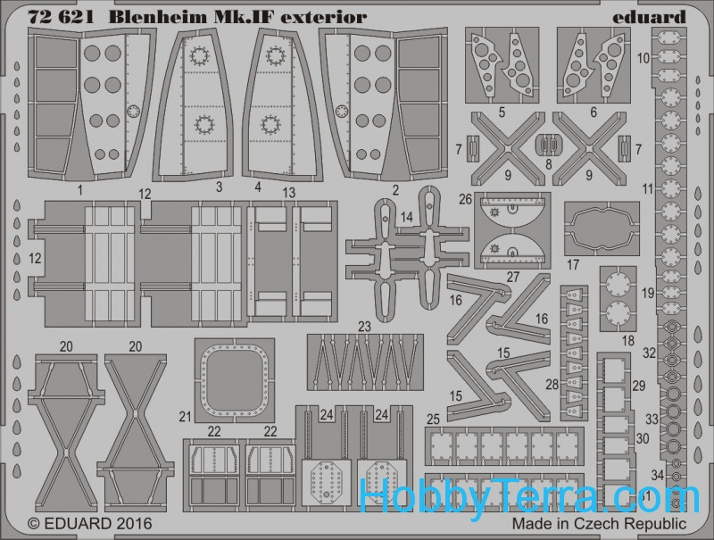 Eduard  72621 Photo-etched set 1/72 Blenheim Mk.IF exterior, for Airfix kit