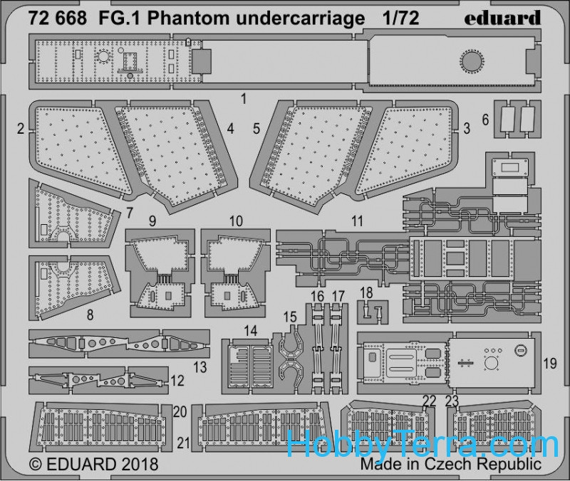 Eduard  72668 Photo-etched set 1/72 for FG.1 Phantom undercarriage, for Airfix kit