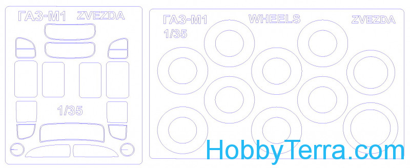 KV Models  35016-01 Mask 1/35 for GAZ-M1 and wheels, double sided