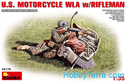 Miniart  35179 U.S.Motorcycle WLA with Rifleman