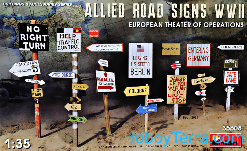 Miniart  35608 Allies Road Signs WWII. (European Theater Of Operations)