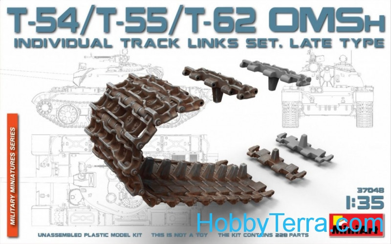 Miniart  37048 T-54, T-55, T-62 OMSh Individual Track Links set, late type