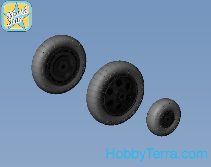 Northstar Models  48122-a Wheels set 1/48 for Focke-Wulf 190 A/F/G early (with hole) disk with early main tire (tread)