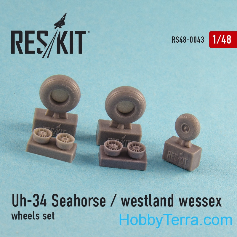 RESKIT  48-0043 Wheels set for Uh-34 Seahorse / Westland Wessex (all versions)