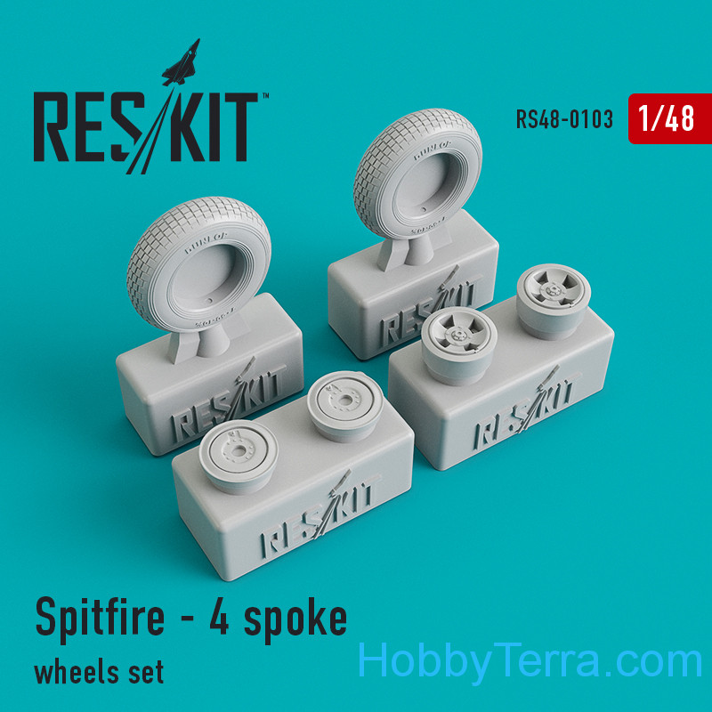 RESKIT  48-0103 Wheels set 1/48 for Spitfire (4 spoke wheels)