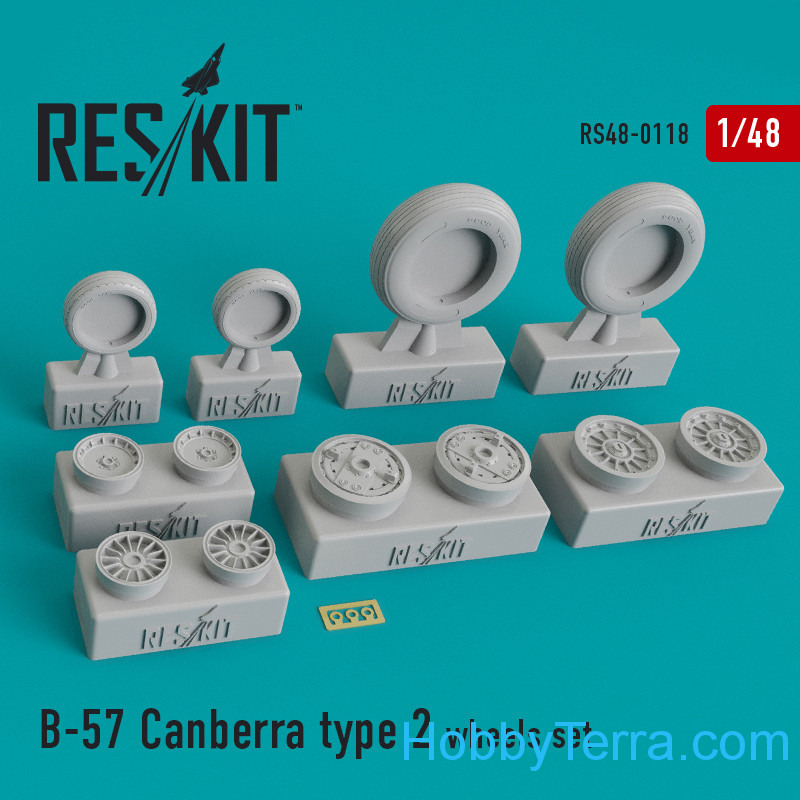 RESKIT  48-0118 Wheels set 1/48 for B-57 Canberra (type 2)