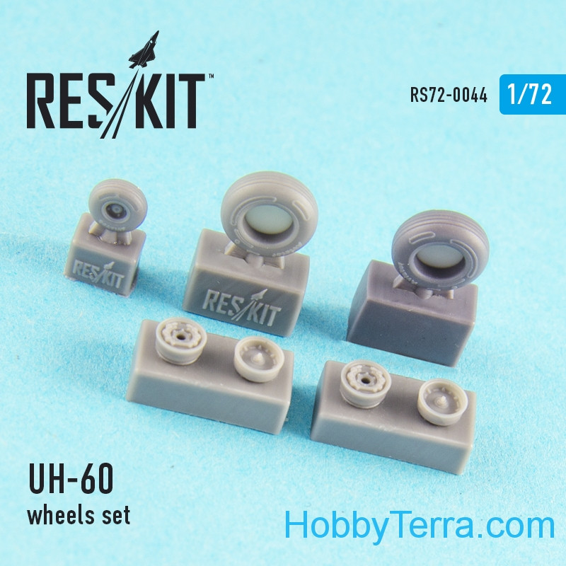 RESKIT  72-0044 Wheels set 1/72 for UH-60 (all versions), for Italeri/Revell kit