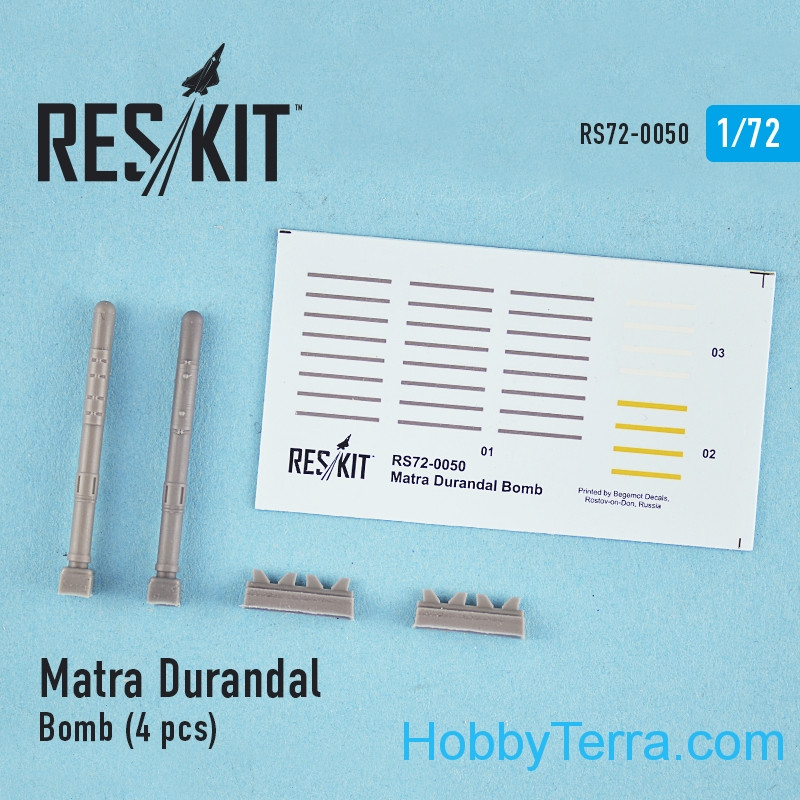 RESKIT  72-0050 Matra Durandal Bomb, 4pcs, for Italeri/Revell kit