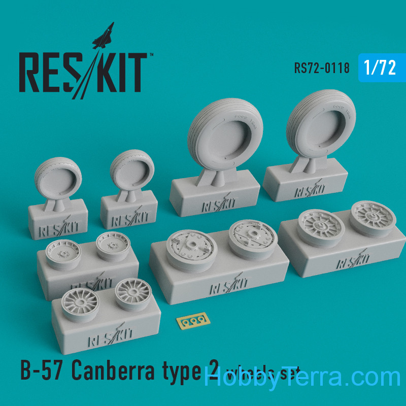 RESKIT  72-0118 Wheels set 1/72 for B-57 Canberra (type 2)