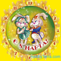 "Puzzle-clock ""8 March. Bunnies"", paper model"