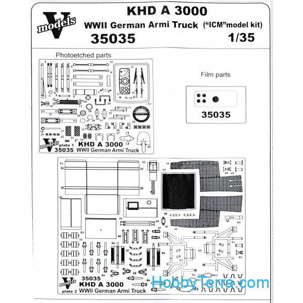 Vmodels  35035 Photo-etched set 1/35 KHD A3000 WWII German army truck, for ICM kit