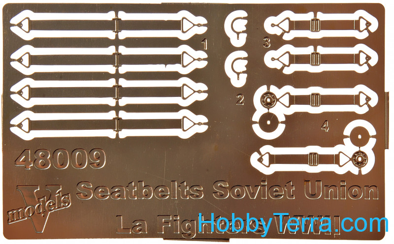 Vmodels  48009 Photo-etched set of Seatbelts Soviet Union La fighters WWII